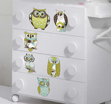 Ensemble de stickers illustrant des hiboux et des chouettes.Super idée déco pour la chambre d'enfant.