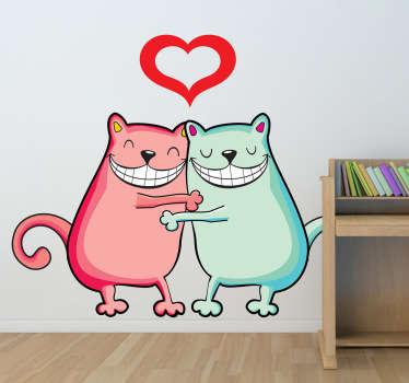 Umarmende Katzen Aufkleber
