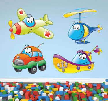 Sticker enfant personnages transports