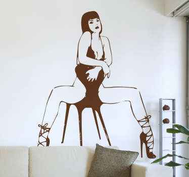 Naklejka na ścianę naga kobieta na krześle