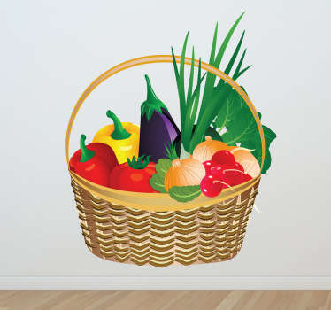 Kitchen Stickers - A basket full of fresh and colourful vegetables. Great for decorating your kitchen or cooking area to set the mood for preparing, cooking and eating food. This vibrant vegetable wall sticker shows a wicker basket full of peppers, a tomato, an aubergine and other healthy greens.
