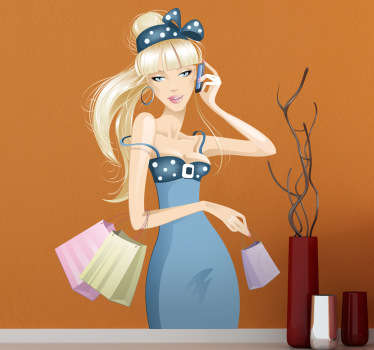 A superb fashion wall sticker of this beautiful young girl dressed elegantly holding all her shopping bag whilst on the phone.