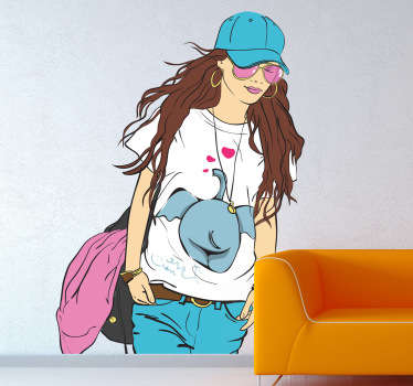 Casual and Chic Lady Wall Sticker