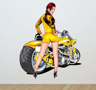 Super-detailed illustration of a young woman in a short yellow dress and matching motorcycle behind.