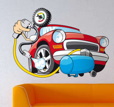 Wall Stickers - Illustration of a red car behind a air pressure pump machine. Pump the tyres. Available in various sizes.