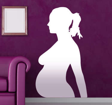 Wandtattoo Silhoulette schwangere Frau