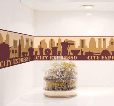Muursticker stad bruin silhouet