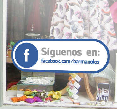 Adhesivo etiqueta tienda Facebook