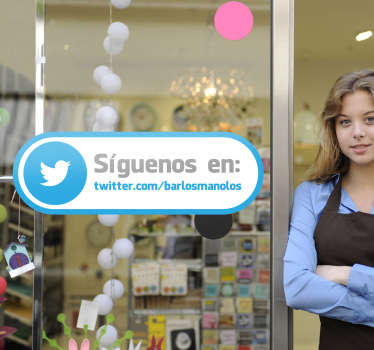 Adhesivo etiqueta tienda twitter