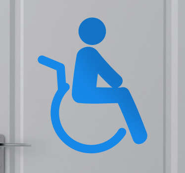 An icon decal to indicate disabled spaces such as a bathroom. Decorate the appropriate place with this decorative sticker.