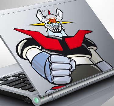 """Espectacular pegatina para la parte trasera de tu ordenador de este famoso robot. Mazinguer Z y su famosa frase """"Puños Fuera""""."""
