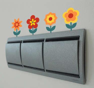 Bunte Blumen Lichtschalter Aufkleber