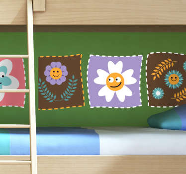 Kids Wall Stickers - Collection of square patch decals with smiley flower faces. Ideal for decorating areas for kids. Available in various sizes.