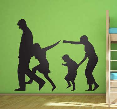 Autocollant mural silhouette famille