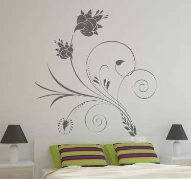 Elegant Floral Curl Decal