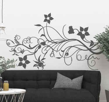 Grenande blommor vägg klistermärke