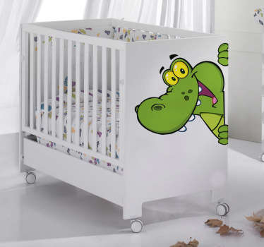 Kids wall sticker illustration of a friendly crocodile. Design blends in well with any coloured background.