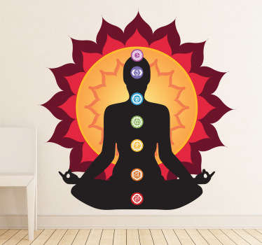 Silhouette Wall Stickers - A unique silhouette illustration. A meditation wall sticker that highlights each of the seven centres of spiritual power in the human body. The relaxing wall sticker brings warmth and positive energy to any room.