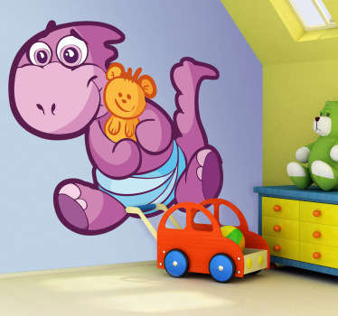 A friendly baby dinosaur decal hugging a teddy illustration from our superb collection of purple wall stickers.