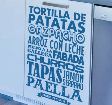Genial diseño tipográfico en adhesivo decorativo con algunas de las comidas más típicas de nuestro país. Platos clásicos y típicos de nuestro país.