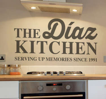 A personalised text wall sticker for your kitchen! A fantastic design from our collection of family wall art stickers! Give your kitchen a unique touch of your own and feel the heartwarming atmosphere that your family will enjoy.