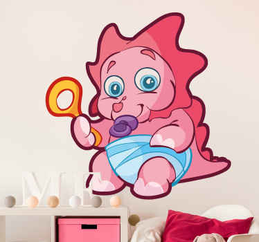 Vinilo infantil dinosaurio bebé rosa