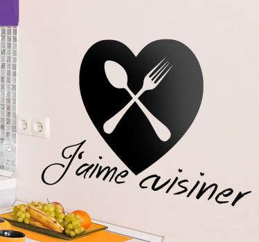 Sticker décoratif aime cuisiner
