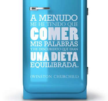 Adhesivo con una graciosa cita del presidente británico Winston Churchill.