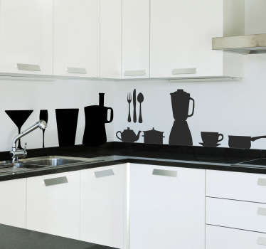 Kitchen wall sticker showing silhouettes of various kitchen utensils and cutlery. This decorative silhouette sticker set is available in various colours and sizes and is perfect for adding that special something to those empty spaces throughout your kitchen.