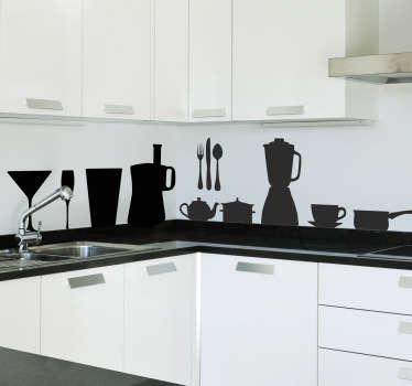 Sticker decorativo cocina siluetas
