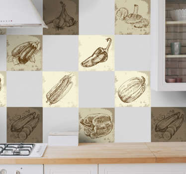 Original prints illustrations of various types of food in brown and sepia tones. A fantastic design from our collection of tile stickers.