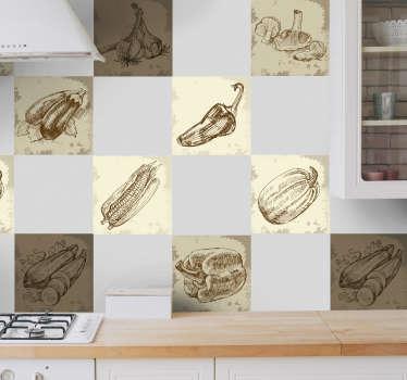 Vintage mat illustrasjon kjøkken klistremerke