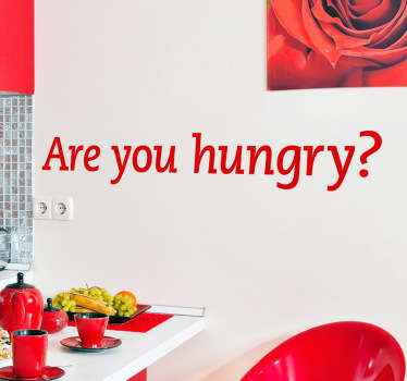 køkken wallstickers  - Are you hungry? - lige til pointen.  Simple dekorationer at tilføje personlighed til dit køkken.