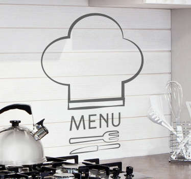 A great kitchen wall sticker illustrating a creative chef hat with some cutlery! Superb logo decal to give your kitchen a modern appearance. If you are a kitchen lover then you definitely hate seeing empty spaces that could be decorated!