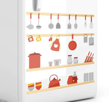 Kitchen Stickers - Shelves filled with kitchen utensils. Use this colourful wall sticker to create the perfect atmosphere for cooking and washing up. Decal designs to decorate your kitchen or cooking area.
