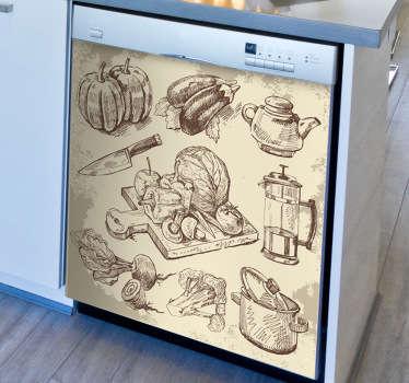 Sticker tekening gastronomische elementen