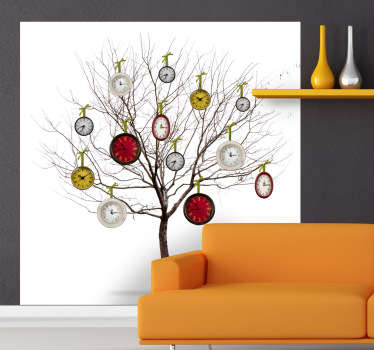 Naklejka na ścianę drzewo z zegarami