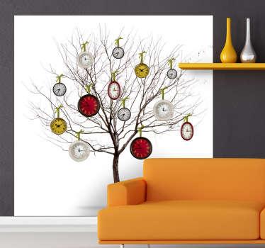 Vinilo decorativo floral arbol relojes