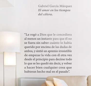 Convierte las paredes de tu casa en un página de libro del genial premio nobel colombiano con este adhesivo.