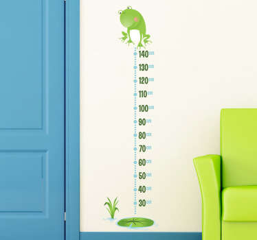 A superb frog wall sticker illustrating a height chart to keep track of your kids' growth. Original height chart decal for the little ones. Decorate your children's bedroom or play area with this fun and cheerful wall decoration.