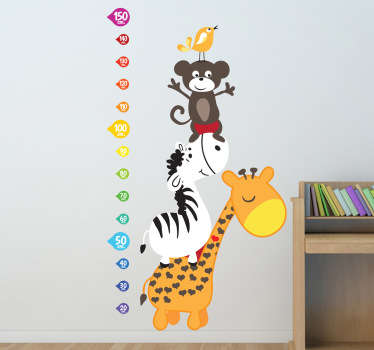 You can now measure your child's growth with this superb animal height chart wall sticker, perfect for decorating your child's bedroom or nursery. A giraffe, zebra, monkey and a bird!