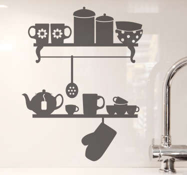 Kitchen Stickers - illustration of two kitchen shelves with various features.