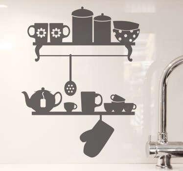 Adesivo de parede decorativo cozinha estantes
