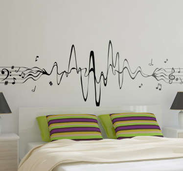 Naklejka na ścianę pięciolinia sinusoida