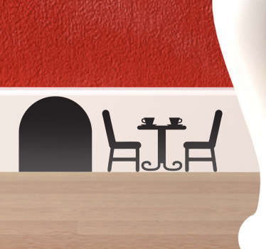 Decorate the skirting boards, or any other corner of your home with this original adhesive of a mouse hole with a table and chairs.