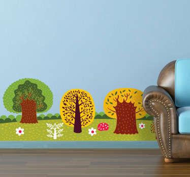 Vinilo decorativo bosque ilustrado