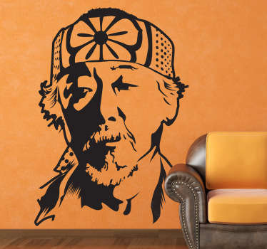 This wall sticker comes from the famous movie The Karate Kid. The figure shown in the photo is Miyagi. Daniel LaRusso's master.