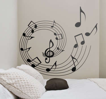 Autocolante decorativo espiral notas musicais