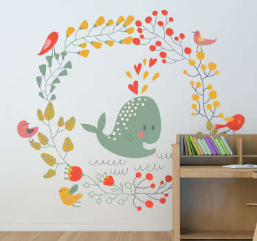 Kids Wall Stickers; Playful and adorable illustration of a whale bursting with love surrounded by birds on a circle wreath.