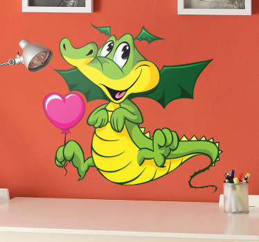 Kids Wall Stickers - Adorable and cute comic illustration of a smiling baby dragon holding a heart balloon.